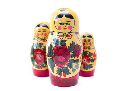 Russian nesting dolls, matryoshkas isolated on the white background Stock Photo - 109086203