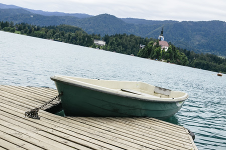 Boat in water on Lake Bled in Slovenia 스톡 콘텐츠