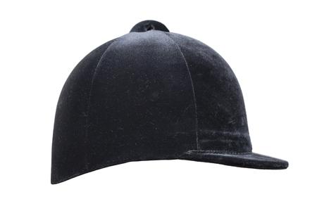 Jockey black helmet  isolated on the white