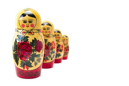 Russian nesting dolls, matryoshkas isolated on the white background Stock Photo - 109362122