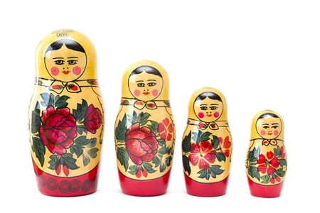 Russian nesting dolls, matryoshkas isolated on the white background Фото со стока - 109196155