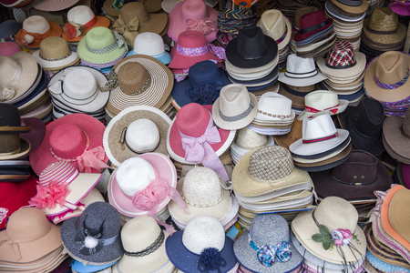 View at colorful hats on marketplace