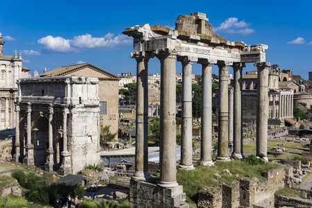 Detail of the Roman Forum in Rome, Italy 에디토리얼