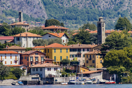View at town Isola Comacina on Lake Como in Italy