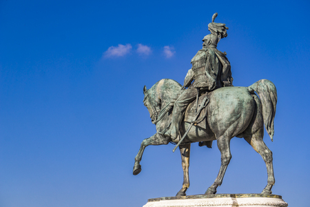 Detail of Equestrian statue of Vittorio Emanuele II on Vittoriano (Altar of the Fatherland) in Rome, Italy 版權商用圖片