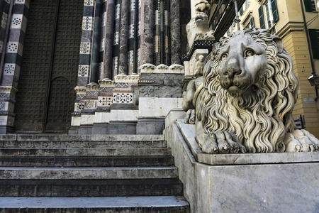 Closeup of the lion of the San Lorenzo Cathedral in Genoa, Italy Stock Photo - 110231438