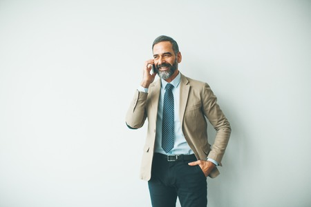 Handsome mature businessman talking on mobile phone in the office