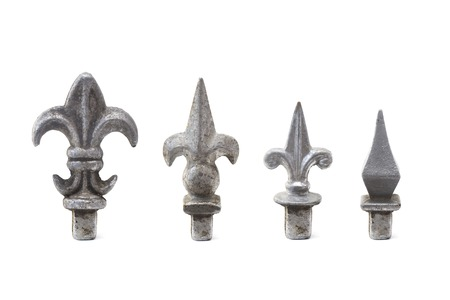 Set of old iron fence spikes isolated on the white background Stockfoto - 110606669