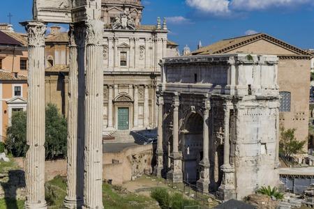 View at Septimius Severus Arch in Roman forum, Rome, Italy Stock Photo