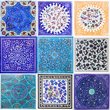 View at set of colorful traditional Iranian decorative ceramic tiles