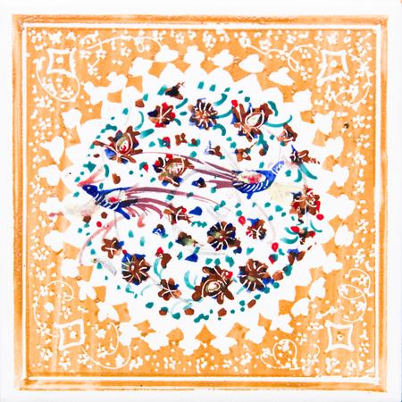 View at colorful traditional Iranian decorative ceramic tiles Stok Fotoğraf