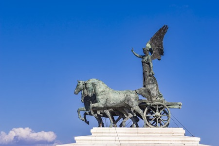Statue Quadriga dellUnita on Vittoriano (Altar of the Fatherland) in Rome, Italy