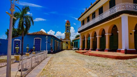 TRINIDAD, CUBA - MAY 25, 2014: Unidentified people on the street of Trinidad, Cuba. Trinidad has been a UNESCO World Heritage site since 1988.