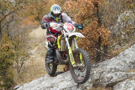 SOKO BANJA, SERBIA - OCTOBER 20, 2018: Unidentified driver at Hard Enduro Race in Soko Banja, Serbia. This moto offroad race took place at October 20-21, 2018.