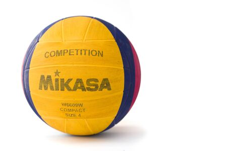 BELGRADE, SERBIA - SEPTEMBER 17, 2018: Mikasa water polo ball isolated on the white background. Mikasa is a Japanese sports equipment company founded at 1917