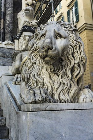 Closeup of the lion of the San Lorenzo Cathedral in Genoa, Italy Stock Photo - 110858131