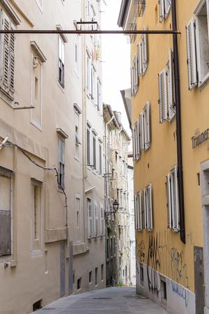 View at narrow street in Trieste, Italy 版權商用圖片