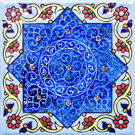 View at colorful traditional Iranian decorative ceramic tiles Stock Photo