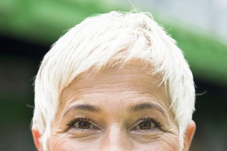 Close up view at eyes of a senior woman