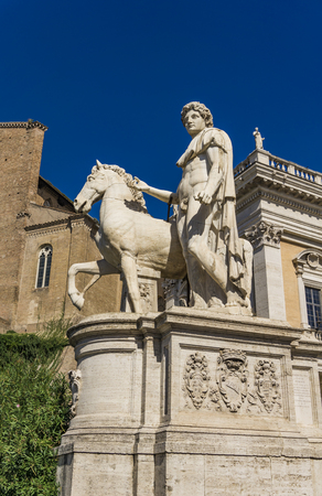 Detail of statue Castor with a Horse at Capitoline Hill in Rome, Italy