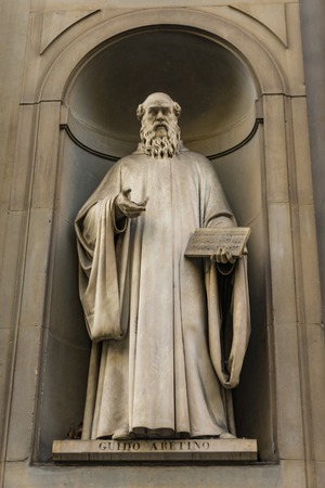 View at musician Guido Aretino monument in Florence, Italy