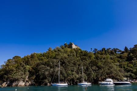 View at sailboat at Portofino bay in Italy
