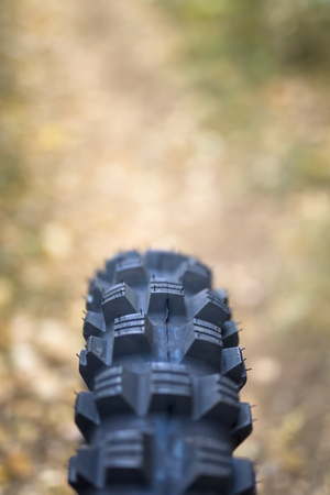 Closeup perspective view at all terrain bike tire