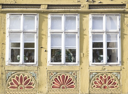 View at traditional windows from Hanover, Germany Standard-Bild - 111346548