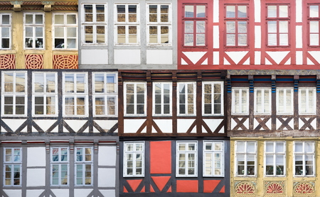 Set of traditionl windows from buildings in Hanover, Germany