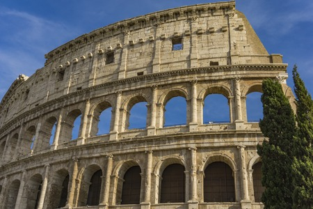 Detail from the ancient Colosseum in Rome, Italy Banco de Imagens