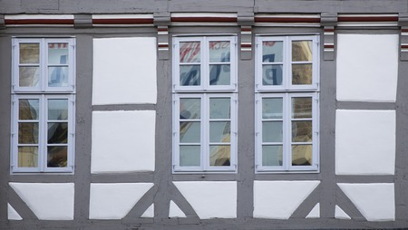 View at traditional windows from Hanover, Germany