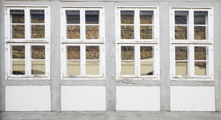 View at traditional windows from Hanover, Germany Standard-Bild - 111503129