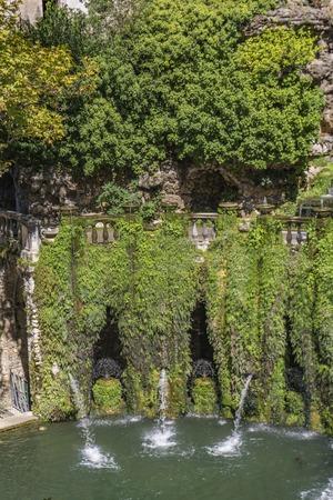 View at Oval Fountain at Villa dEste in Tivoli, Italy