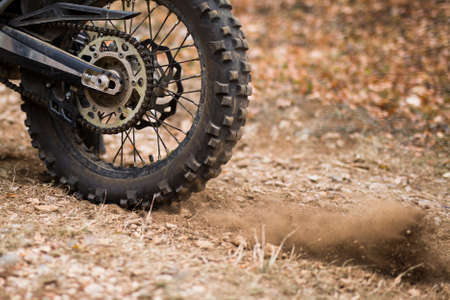 Closeup of the motocross offroad endurance wheel
