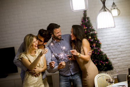 Portrait of cheerful women and men celebrating New Year eve with sparkles and wine at home Stock Photo