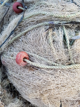Closeup of the fishing net in the port
