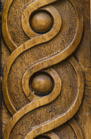 Close up view at wooden carving shapes