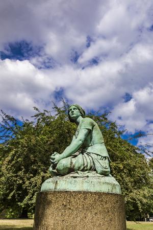 Replica of Joan of Arc statue designed by Henri Chapu at Ørstedsparken in Copenhagen, Denmark 스톡 콘텐츠