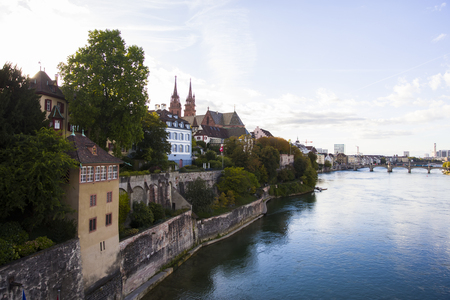 View at old town of Basel, Switzerland with the cathedral above the Rhine river
