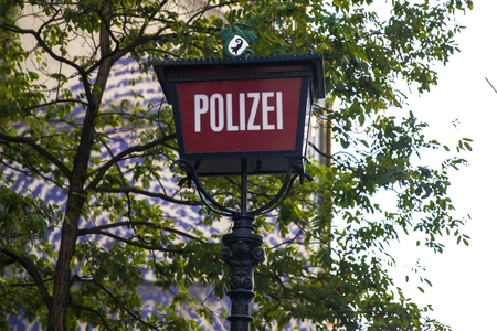 Police station sign on the street of Basel, Switzerland Stock Photo