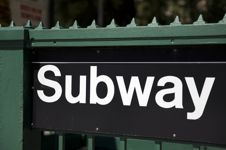 Closeup of the New York City subway entrance in USA Zdjęcie Seryjne