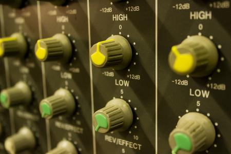 Closeup of the audio mixer from music studio Banco de Imagens