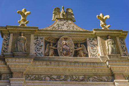 Detail of the Fountain of the Owl in the Villa d'Este in Tivoli, Italy