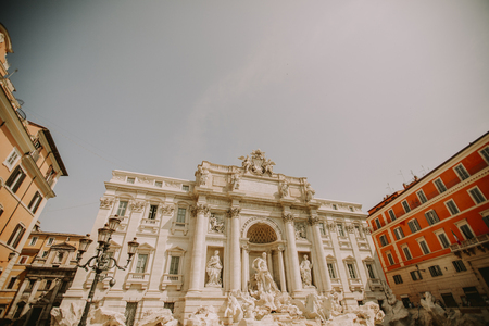 Detail of the Trevi fountain in Rome, Italy