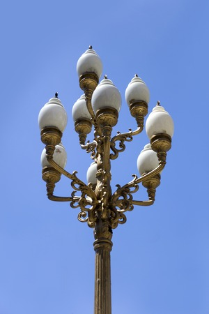 Vintage decorative streetlight on the street of Buenos Aires, Argentina