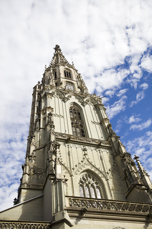 Perspective view at the toer of Bern Minster in Switzerland