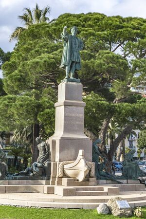 RAPALLO, ITALY - MARCH 12, 2018: Christopher Columbus monument in Rapallo, Italy. It is made by sculptor Arturo Dresco at 1914.