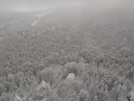 Aerial view at the winter mountain landscape