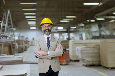 Portrait of senior handsome businessman in suit with helmet in a warehouse Stock Photo