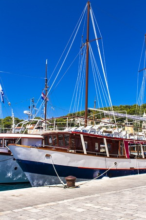 Boats at marina in Hvar, Croatia.   hvar is one of the most popular and most visited destination in Croatia.